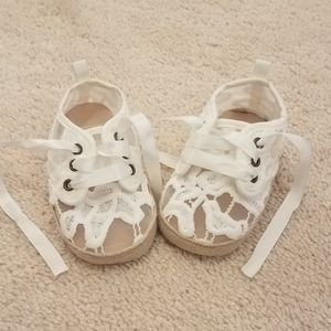 Carter's white lace tie up shoes